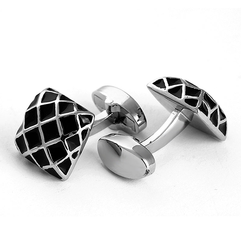 ENAMELED GRID PATTERN SILVER CUFFLINKS