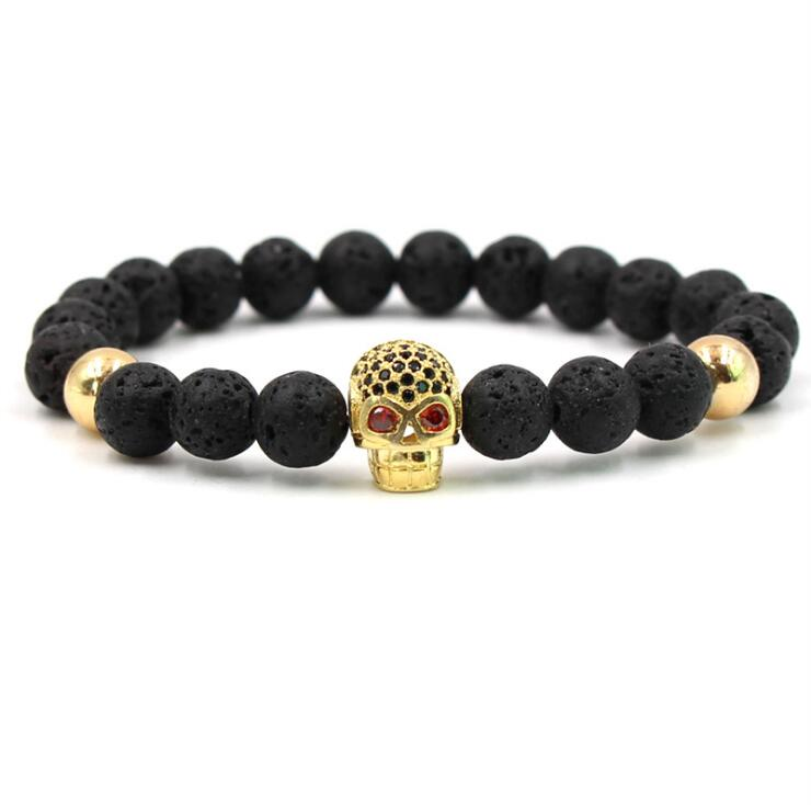 GOLD BLING SKULL LAVA STONE BEADS STRETCH BRACELETS