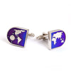 AMETHYST STONE BUTTON COVER CUFFLINKS