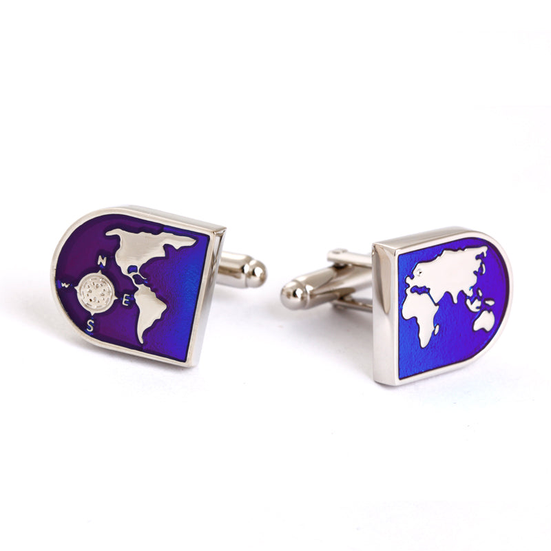 WORLD MAP ENAMELED METAL CUFFLINKS