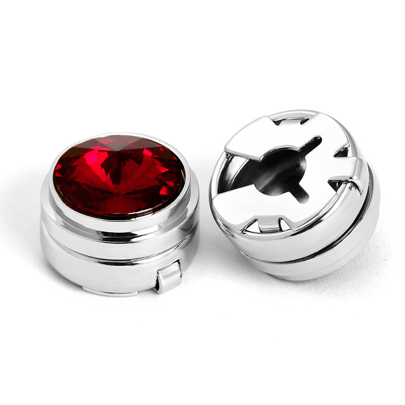 RED STONE BUTTON COVER CUFFLINKS