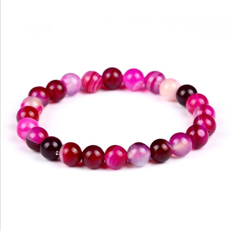 PINK AGATE GEMSTONE BEADS STRETCH BRACELETS