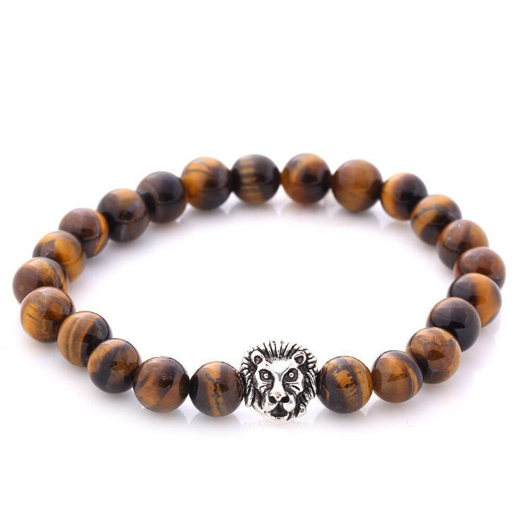 LION HEAD TIGER EYE AGATE BEADS STRETCH BRACELETS