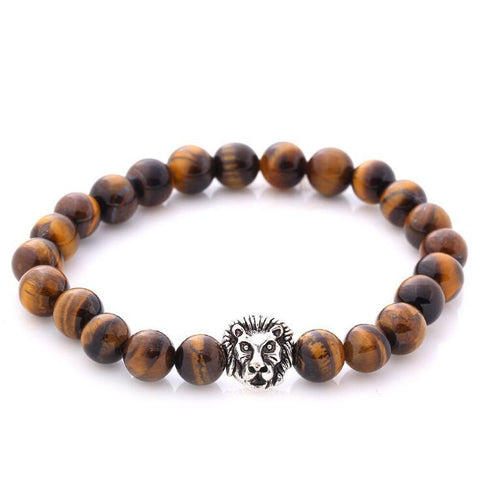 LION HEAD LAVA STONE BEADS STRETCH BRACELETS