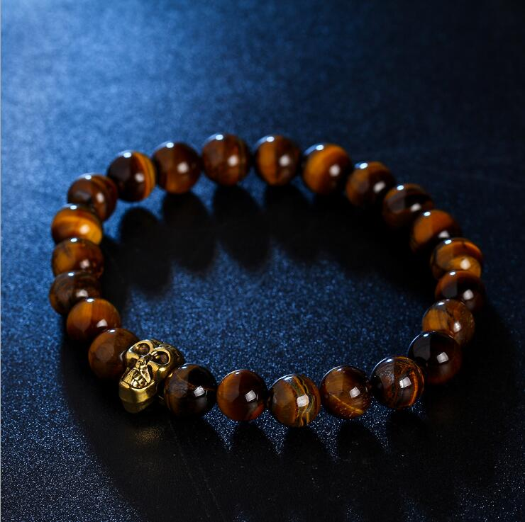 GOLDEN SKULL TIGER EYE AGATE BEADS STRETCH BRACELETS
