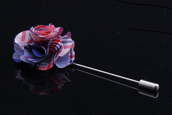 PLAID FABRIC FLOWER PINS