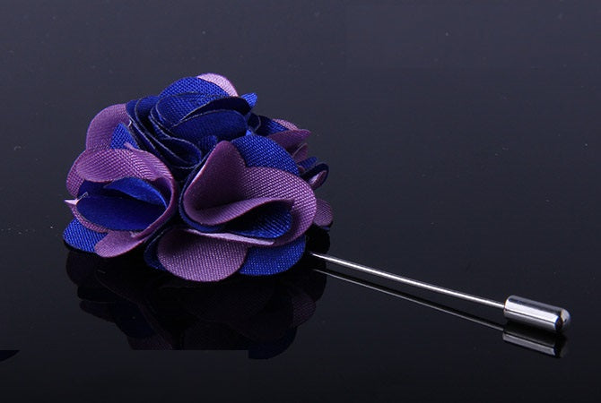TWO TONE FABRIC FLOWER LAPEL PINS