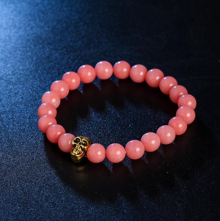 GOLDEN SKULL ROSE QUARTZ GEMSTONE BEADS STRETCH BRACELETS