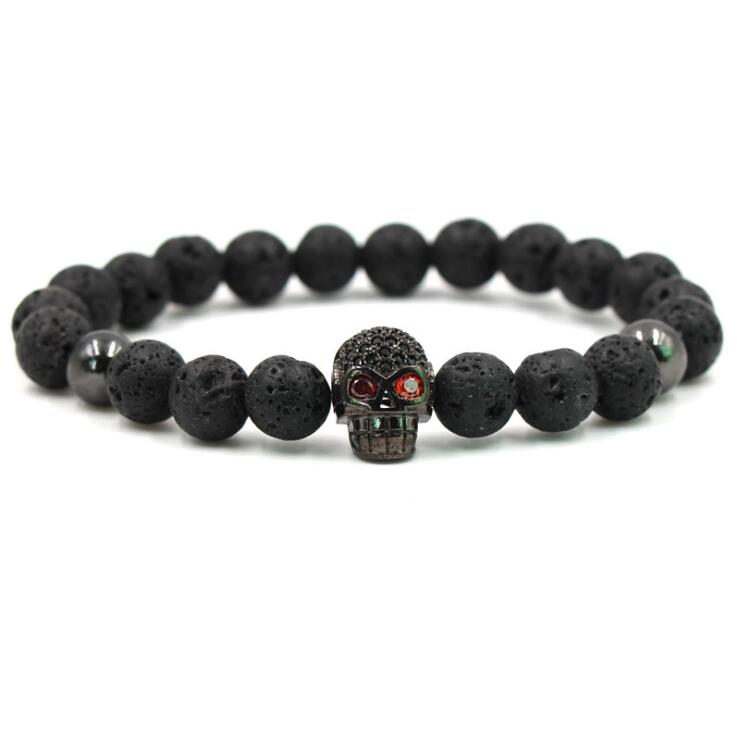 BLACK BLING SKULL LAVA STONE BEADS STRETCH BRACELETS
