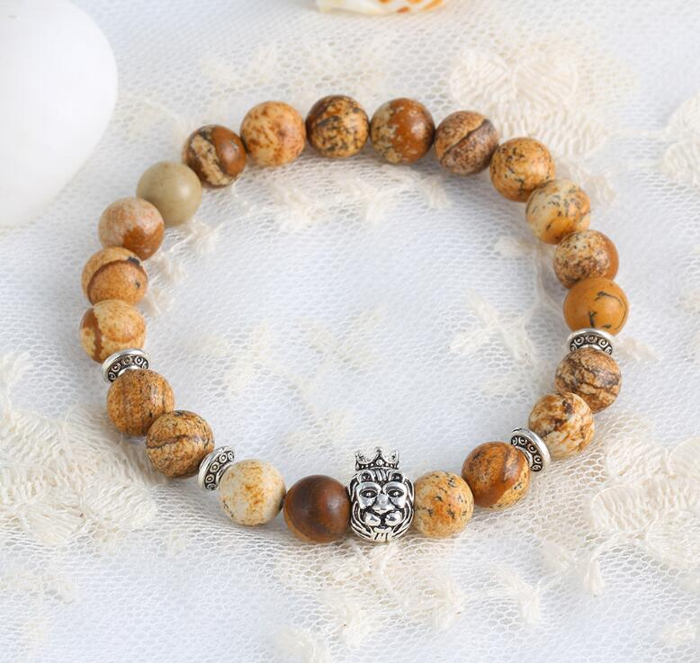 LION HEAD WITH CROWN NATURAL STONE BEADS STRETCH BRACELETS