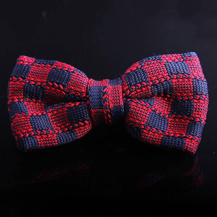 BUFFALO PLAID KNIT BOW TIES
