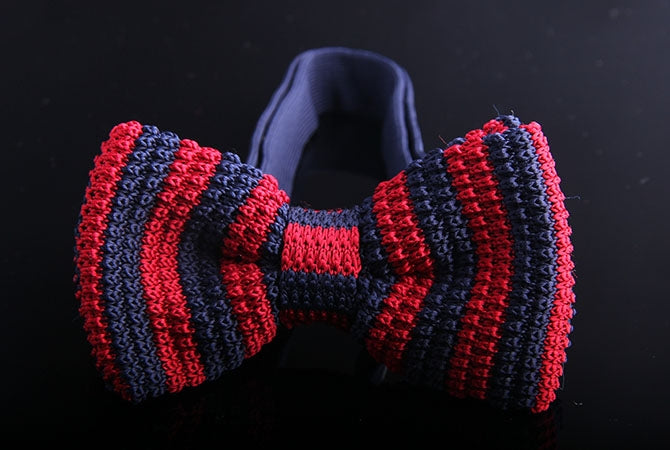 CANDY VERTICAL STRIPE KNIT BOW TIES