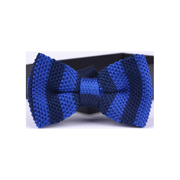 CHALK STRIPE KNIT BOW TIES