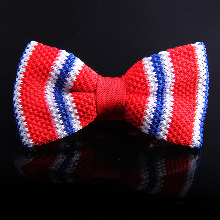 MULTI REGIMENTAL STRIPE KNIT BOW TIES