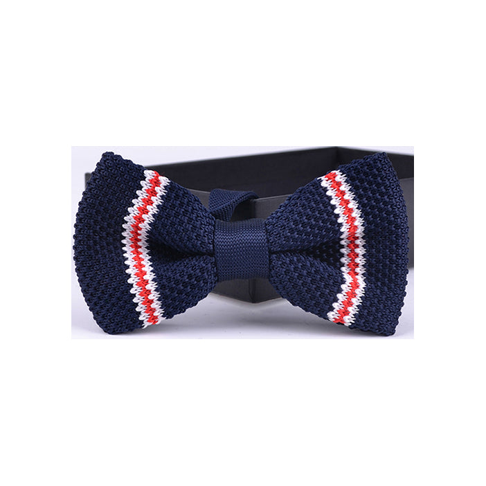 THIN REGIMENTAL STRIPE KNIT BOW TIES
