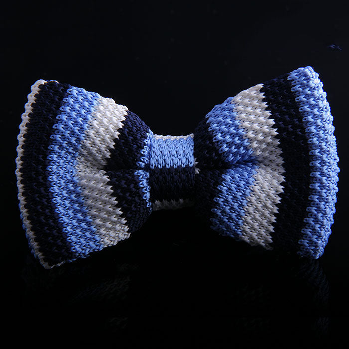 MULTI RUGBY STRIPE KNIT BOW TIE