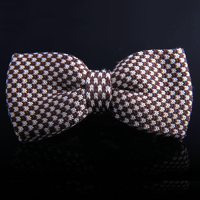 GINGHAM PLAID KNIT BOW TIES