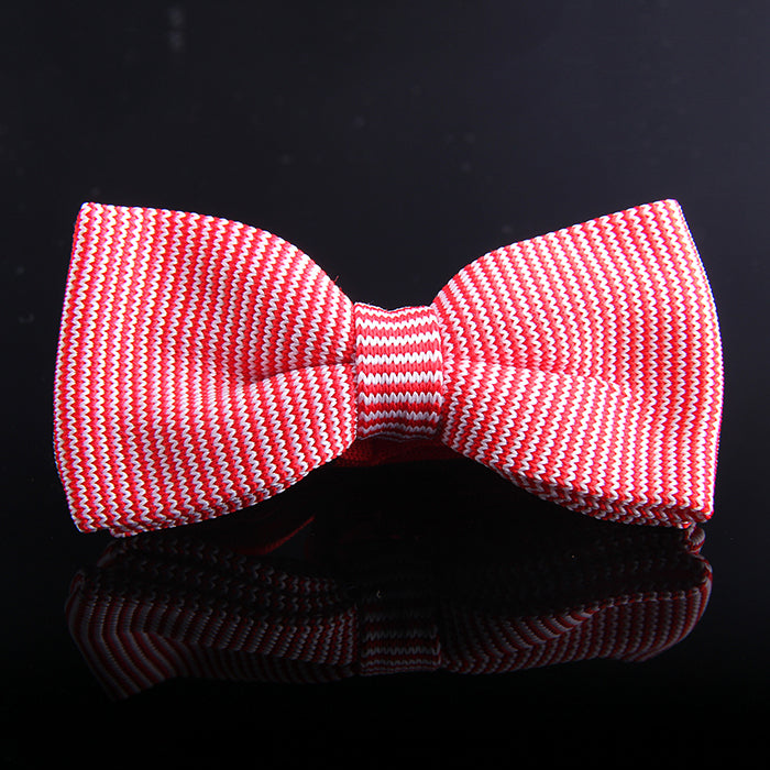 HAIRLINE STRIPE KNIT BOW TIES