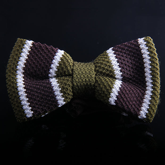 MALTESE STRIPE KNIT BOW TIES