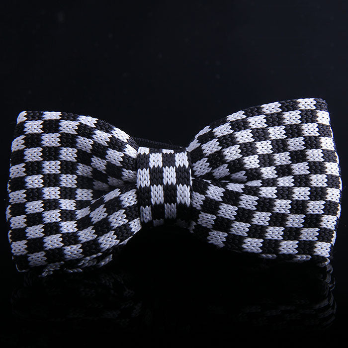 CHESSBOARD KNIT BOW TIES