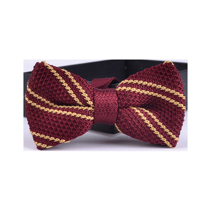 DIAGONAL FRENCH STRIPE KNIT BOW TIE