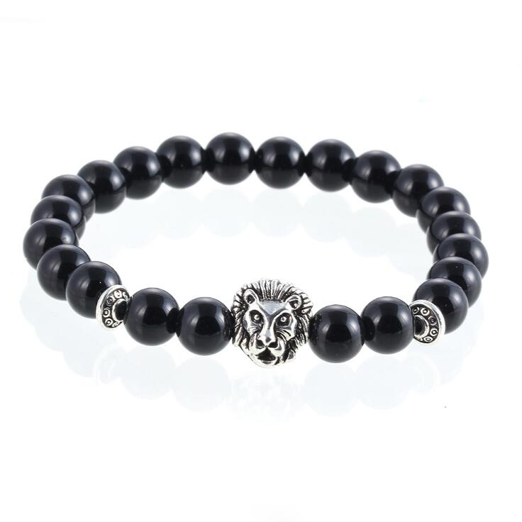 SILVER LION HEAD BLACK ONYX BEADS STRETCH BRACELETS