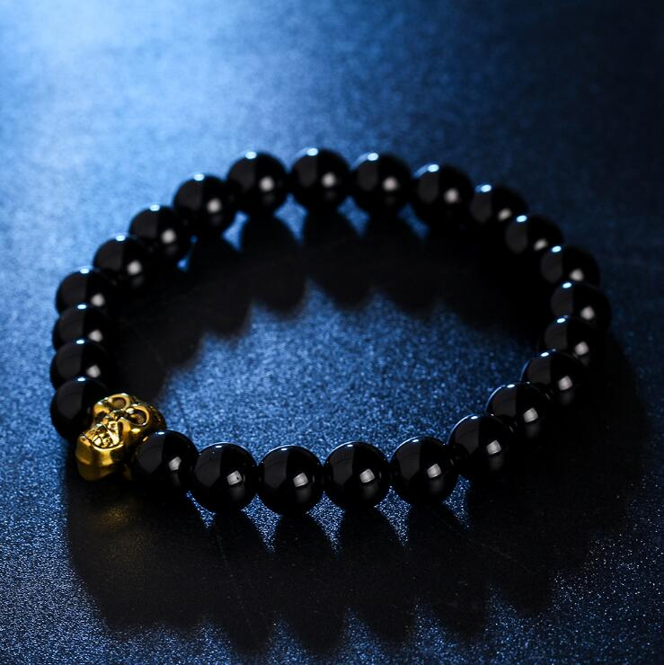 GOLDEN SKULL BLACK ONYX BEADS STRETCH BRACELETS