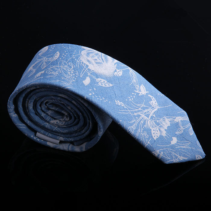 WILD FLOWER DENIM TIES