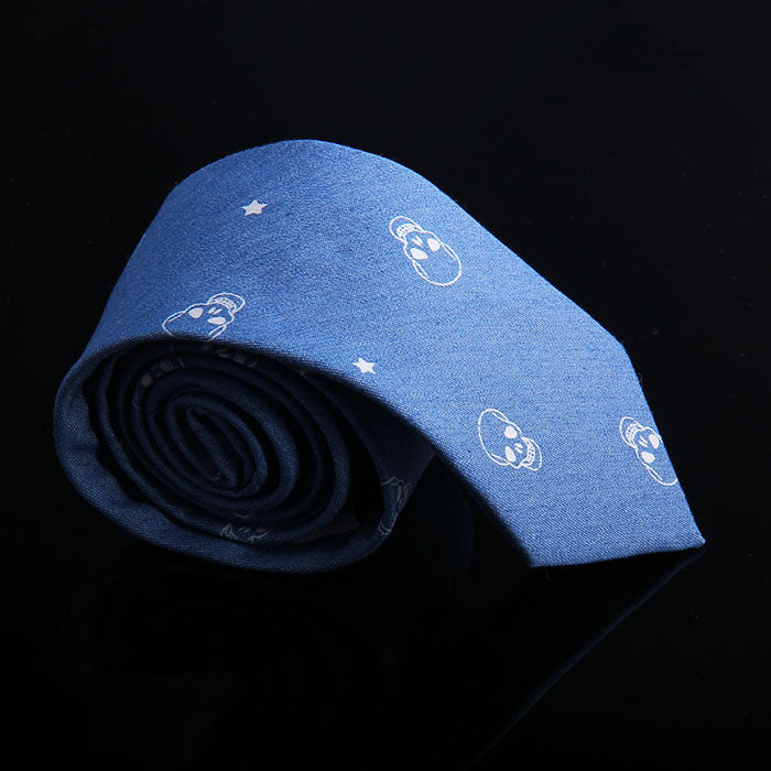 SKULL DENIM TIES