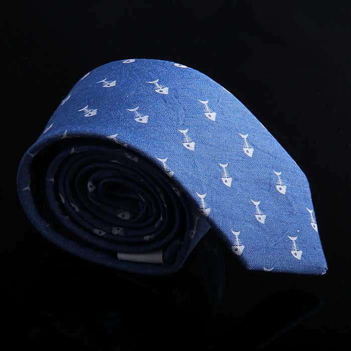 FISH BONE DENIM TIES