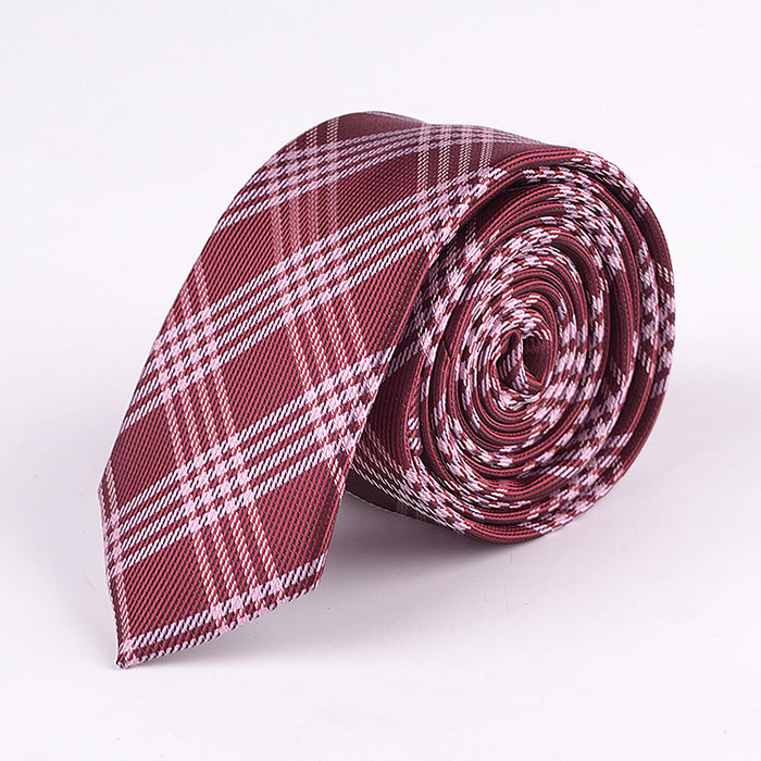 BRICK RED PLAID TIE