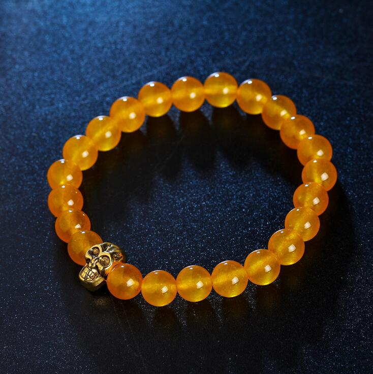 GOLDEN SKULL YELLOW JASPER STONE BEADS STRETCH BRACELETS
