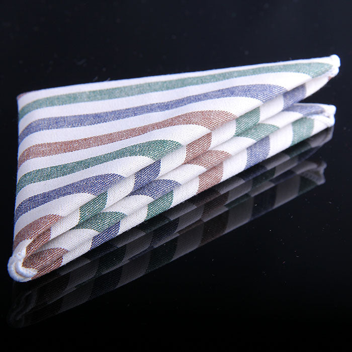 MULTI COLOR AWNING STRIPE POCKET SQUARES
