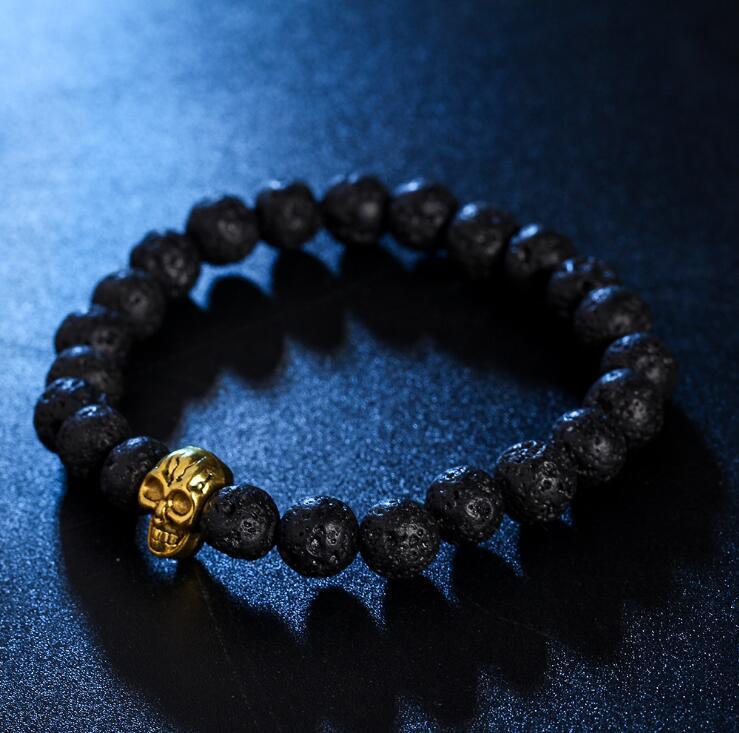 GOLDEN SKULL HEAD LAVA STONE BEADS STRETCH BRACELETS
