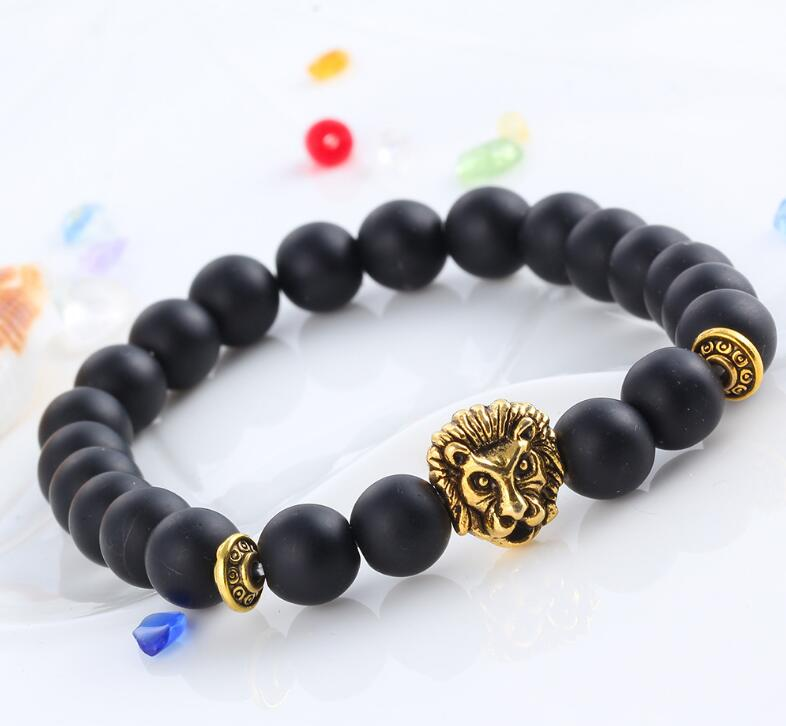 GOLDEN LION HEAD BLACK ONYX MATTE BEADS STRETCH BRACELETS
