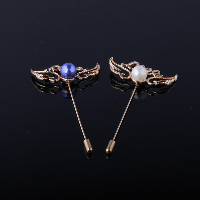GOLDEN LOVE PEARL WINGS LAPEL PINS