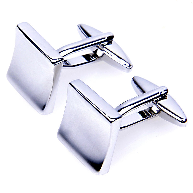 SOLID CURVED SQUARE SILVER CUFFLINKS