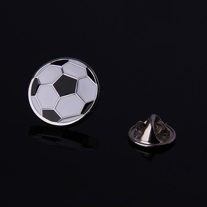 SOCCER WHITE BLACK ENAMELED SILVER LAPEL PINS