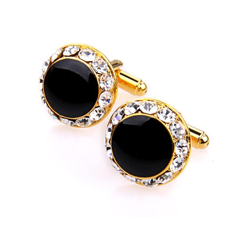BLACK AND CLEAR CRYSTAL GOLD CUFFLINK