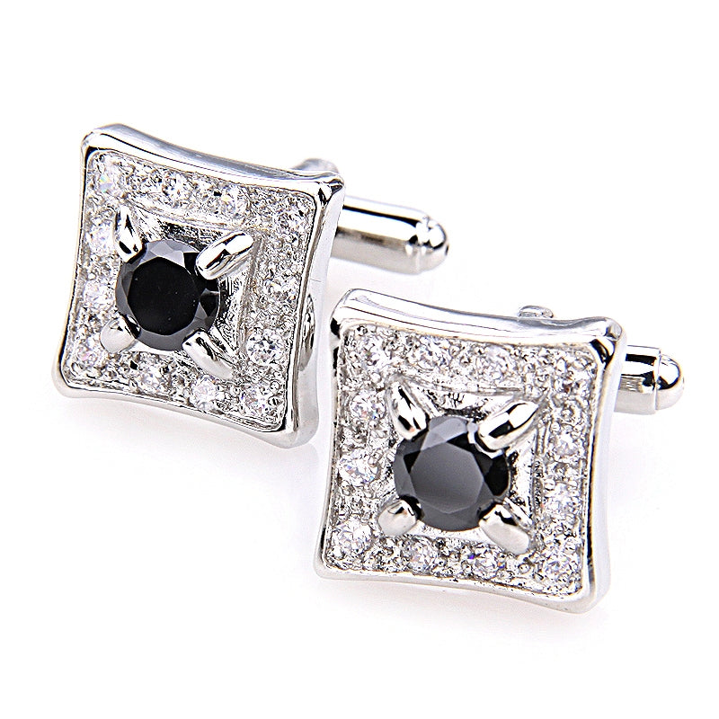 BLACK AND CLEAR CRYSTAL SILVER CUFFLINK