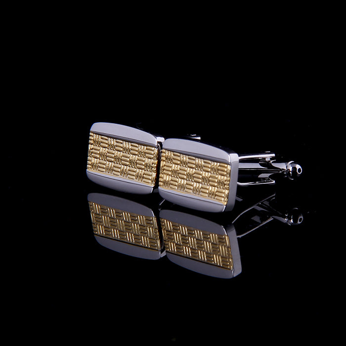 GOLD AND SILVER BASKET WEAVE CUFFLINKS