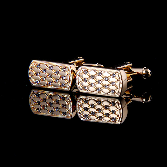 CRYSTAL INLAID ENGRAVED GOLD PLATED CUFFLINKS