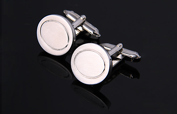 BRUSHED SILVER OVAL CUFFLINKS