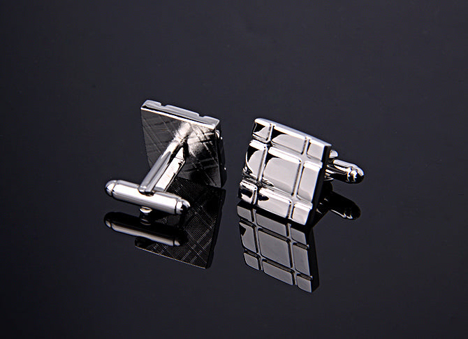 SQUARE PARALLEL LINE SILVER CUFFLINKS