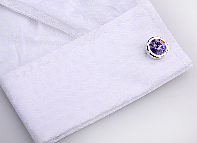 PURPLE SWAROVSKI STONE CUFFLINKS