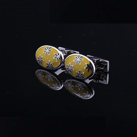 FLORAL YELLOW CUFFLINKS