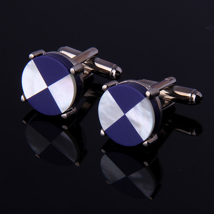 QUARTER ROUND SHELL CUFFLINKS