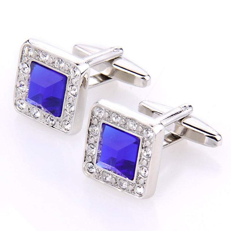 SAPPHIRE AND CLEAR CRYSTAL SILVER CUFFLINK