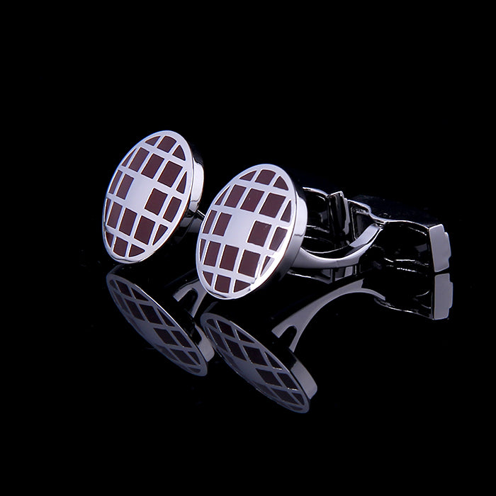 ROUND CHECK BROWN ENAMELED SILVER CUFFLINKS