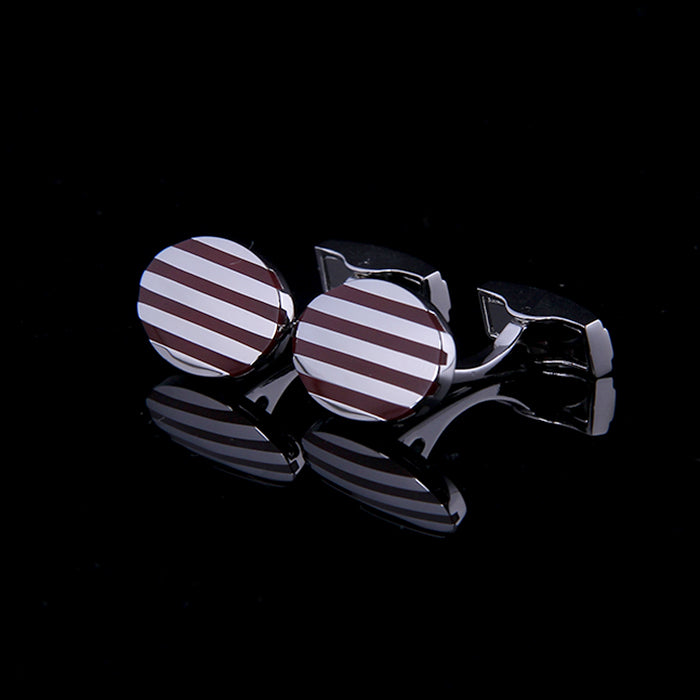OVAL STRIPE BROWN ENAMELED SILVER CUFFLINKS
